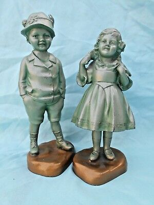 """Pair Of Vintage Cast Metal Boy & Girl Alpine Figures Excellent Condition 7"""" Tall"""