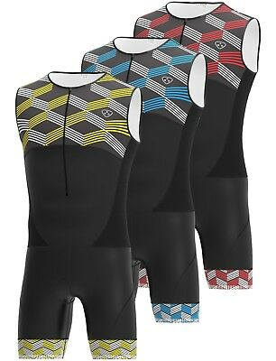 Men Triathlon Tri Suit Padded Compression Running Swimming Cycling Skin suit