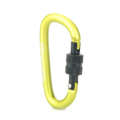 NatureHike-NH D-Shape Screw Gate Locking Carabiner - Green