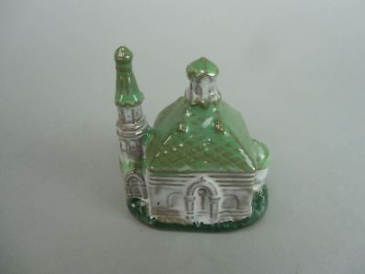 DR145 Japanese Bell Pottery Victorian style House Green Lucky Charm Dorei