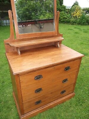 Large Antique Edwardian Solid wood Chest Of Drawers with Mirror, Original glass