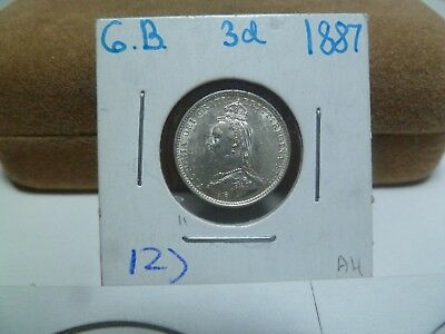 1887 Great Britain 3d Pence Silver Coin AU/UNC