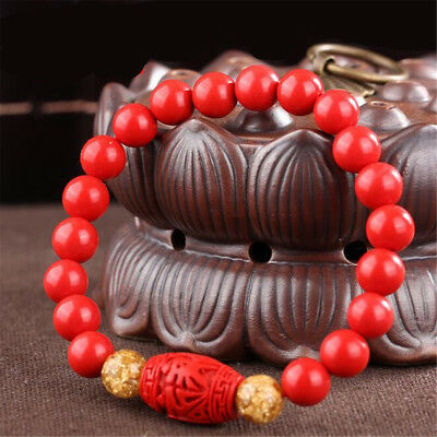 Chinese 8MM Natural Red Organic Cinnabar Elastic Bracelet Lucky Amulet