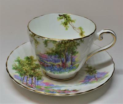 Rare 60s AYNSLEY Bone China England BLUEBELL TIME #C1193 Set Tea Cup & Saucer