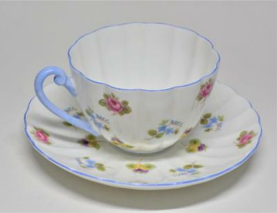 Vtg SHELLEY Bone China England ROSE Pansy Forget-Me-Not Ludlow Set Cup & Saucer