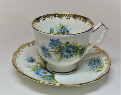 Rare 40s AYNSLEY Bone China England BLUE FLOWERS #2504 Set Tea Cup & Saucer