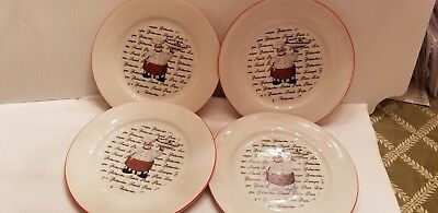 Emerald Italian French Chef Cook Waiter Salad Plate Dish CUTE! A SET OF 4