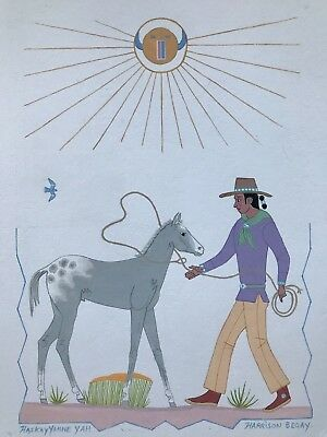 """Harrison Begay Original Painting """" NAVAJO BOY WITH YOUNG COLT"""" 13.5"""" x 10.5"""""""
