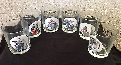 The Saturday Evening Post Norman Rockwell Glass Tumblers Set Of 6 Vintage
