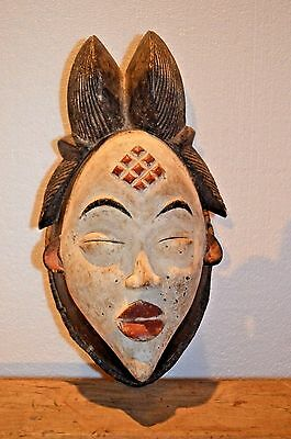 HAND CARVED AFRICAN PUNU OKUYI DANCE MASK FROM GABON mask w/REED WRAPPED BORDER