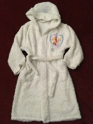 Girls Frozen Dressing Gown White With Tiara Pockets Hood 7/8 yrs Mothercare.