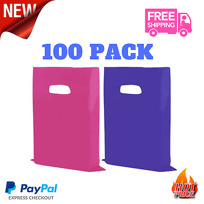 Plastic Merchandise Bags Retail Clothes Shopping Grocery Carry Out Bags 12x15