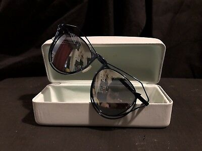 60bdfa7483df Karen Walker Marguerite Metallic Blue Metal Frame silver Mirrored Sunglasses .