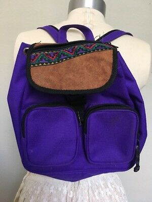 Vintage 90 s Mini-Backpack Buckle Purple Suede Southwest Jansport-Like Y2K 822dacba24c15