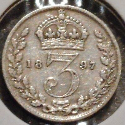 British Silver Threepence - 1897 - Queen Victoria - $1 Unlimited Ship