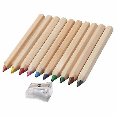 IKEA MALA Coloured Pencils - Water-soluble - 10 Pencils & a Sharpener Per Pack