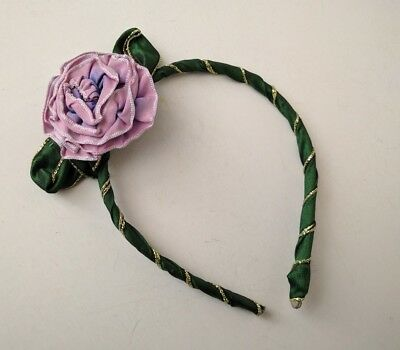 NEW Boutique Baby Headband Ombre Ribbon Flower Lilac Green Gold Victorian Style