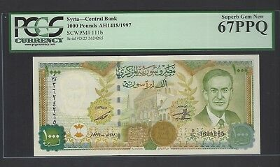 Syria Syrie 1000 Pounds 1997/AH1418 P111b Uncirculated Grade 67
