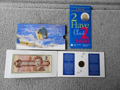 1996 Canada's New Uncirculated 2$ Bill & $2 Toonie Coin & Bank Note Set Gem Mint