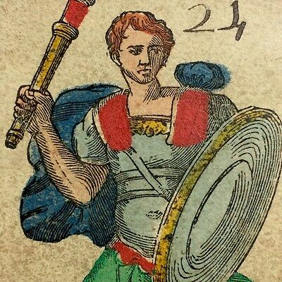 Knave Page of Wands Batons c1820 Antique Tarot Playing Cards Painted Single +COA