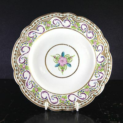 Caughley plate, rare Chamberlains decoration in the Sevres style, c.1792