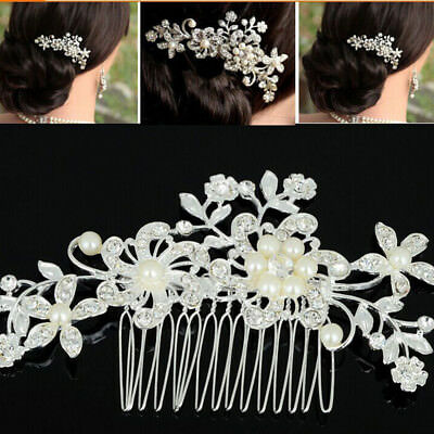 1x Bridal Jewellery Rhinestone Crystal Wedding Flower Pearls Hair Comb Clip
