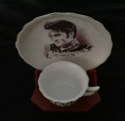 Elvis presley mini tea cup and plate with display holder