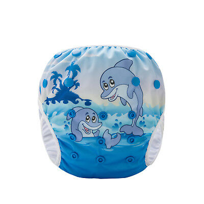 Swim Cloth Nappy - washable reuseable swimmer adjustable baby Happy Dolphins