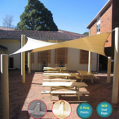 Waterproof Sun Shade Sail Garden Patio Awning Canopy 98% UV Block W/ Ropes NEW