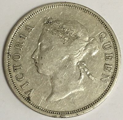 1891 Straits Settlements 50 Cents Silver Coin Queen Victoria (L551)
