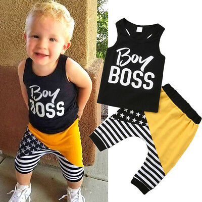 AU Summer Newborn Infant Baby Boy Striped Clothes Tops Vest+Short Pants Outfits