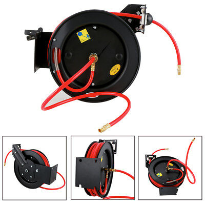 """3/8"""" x 50' Auto Retractable Air Hose Reel Compressor Recovery Rolling 300 PSI"""