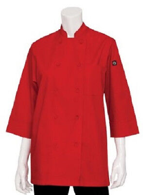 Men's S Chef Works 3/4 sleeve Coat Jacket Red small Restaurant Kitchen