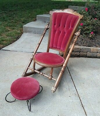 Antique Vintage Wooden Red Velvet Rocker Rocking Chair Victorian Old Handmade