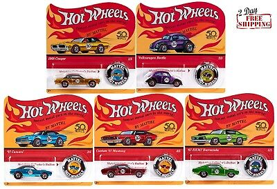 2018 Hot Wheels 50th Anniversary Redlines Collection Set 5 Diecast Car w/ Button