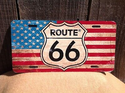 Route 66 Flames Wholesale Novelty License Plate Bar Wall Decor