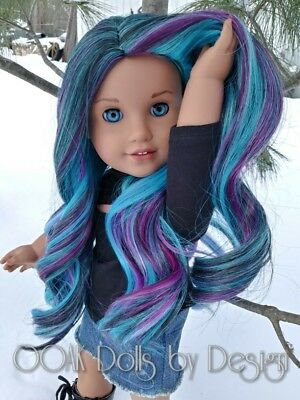 "OOAK 10-11 wig for American Girl Dolls or other 18"" dolls in Starry Nights"