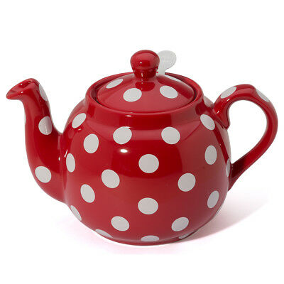 NEW London Pottery Farmhouse Filter Teapot 4 Cup Red/Wht Spots
