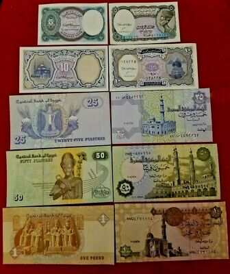 ***EGYPT 5 PAPER MONEY RARE (UNC) EGYPTIAN NOTES COLLECTIAN SET*** Free Shipping