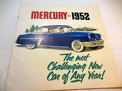 Original 1952 Mercury Full-Line color Prestige brochure catalog, excellent