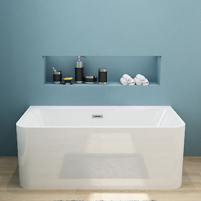 Bathroom Free standing Bath tub 1700x750x580mm Back to Wall with Overflow&Waste