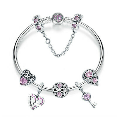 Authentic Silver 925 Bangle Charm Bracelet w/ Infinity Love Pink European Charms