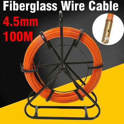 Fish Tape Fiberglass Wire Cable Running Rod Duct Rodder Puller 4.5mm 100m US