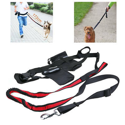 Adjustable Hands Free Dog Puppy Lead Walk Jogging Waist Belt Elastic Leash Bag