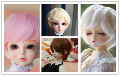 1/4 BJD Doll Hair Short Wavy Curly Wig 4 colors Pink Brown Blond 7-8""