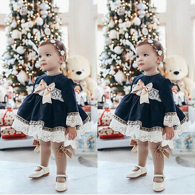 Fashion Baby Kid Girl Summer Dress Party Wedding Pageant Lace Princess Dress AU
