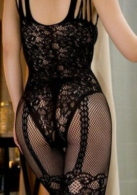 Lingerie bodysuit Open Crotch Stocking Crotchless Fishnet Sheer Body Womans