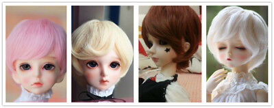 1/6 BJD Doll Hair Short Wavy Curly Wig 4 colors Pink Brown Blond  6''