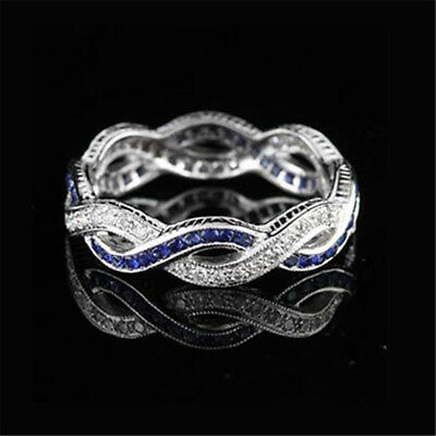 925 Silver Women Blue Sapphire Infinity Wedding Jewelry Gift Ring Size5-10
