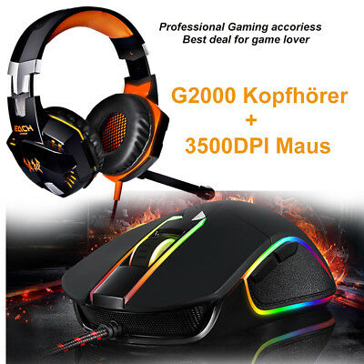 Headset PC Gaming Laptop + GAMER Maus Funk wired EACH G2000 Spiel Kopfhörer Set
